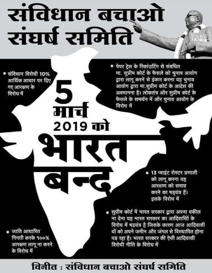 5 मार्च को भारत बंद – सभी सामाजिक – राजनेतिक संगठनों ने किया समर्थन–