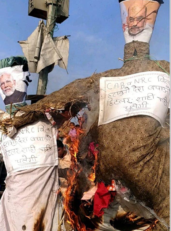 CAA – NRC के विरोध में जयपुर में प्रधानमंत्री मोदी व् शाह का पुतला दहन–