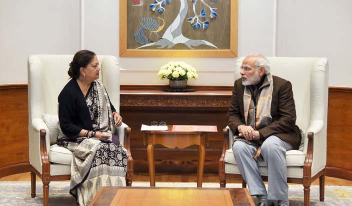 CM राजे ने की प्रधानमंत्री मोदी से मुलाकात, महत्वपूर्ण विषयों पर कीचर्चा