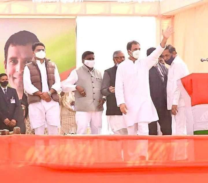 दो दिन से आक्रमक दिख रहें हैं राहुल गाँधी , राजस्थान में जाट बाहुल्य क्षेत्रो में किसान रेली – मुख्यमंत्री अशोक गहलोत ,सचिन पायलेट रहे इर्दगिर्द –